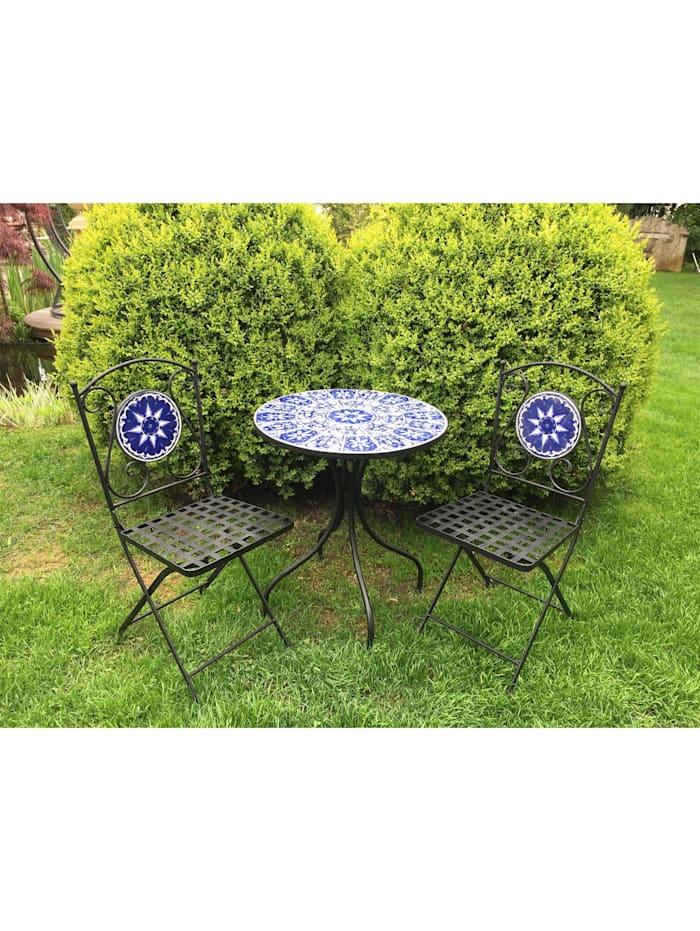 HTI-Line Metalltisch mit 2 Stühlen Marokko, blau