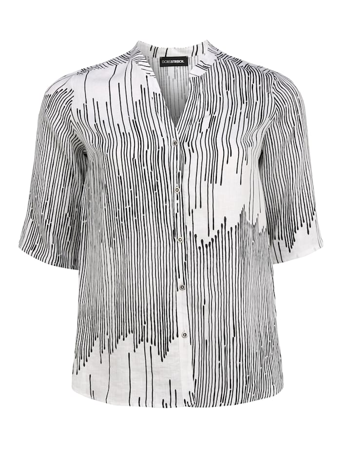 Doris Streich Leinenbluse mit Maokragen, schwarz/weiß
