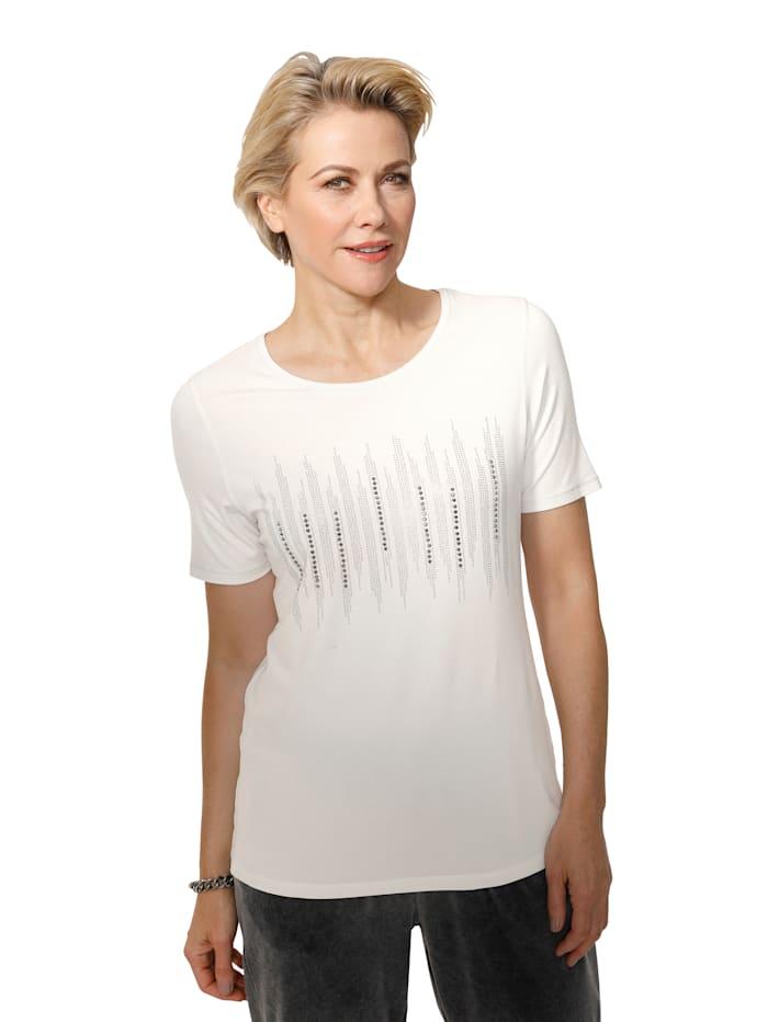 MONA Shirt mit dekorativer Steinchenzier, Ecru