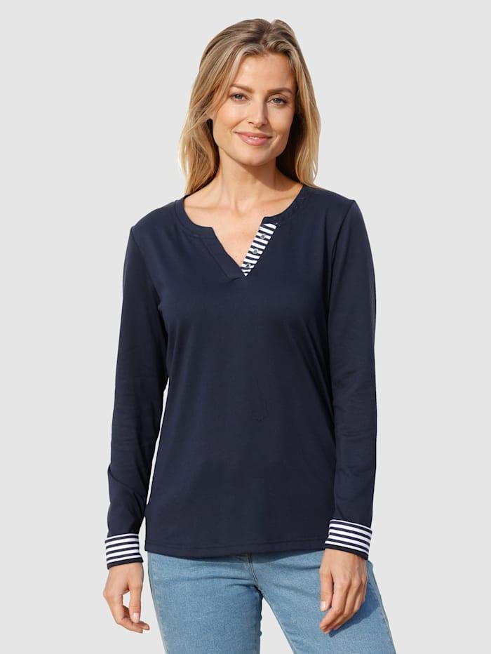 basically you Shirt mit Zierblende in Streifendesign, Marineblau