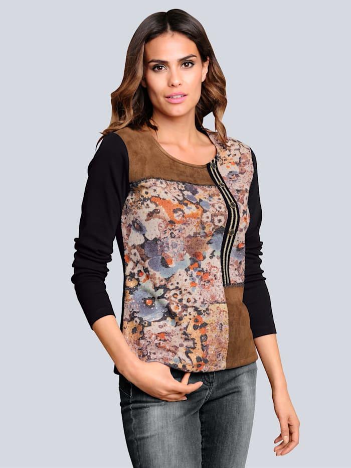 Alba Moda Shirt mit dekorativen Details, Cognac/Schwarz