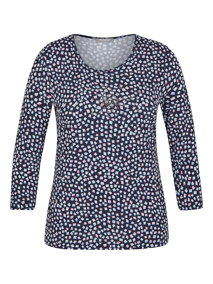 Rabe Shirt mit Glitzersteinen und geometrischem Muster, MARINE