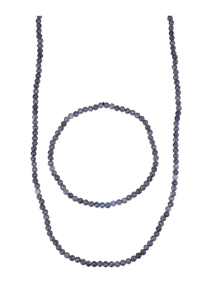 2tlg. Schmuck-Set mit Saphiren, Blau