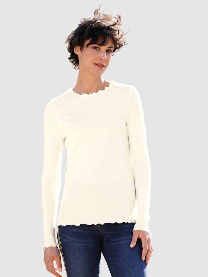 Dress In Shirt mit Wellenkante, Wollweiß