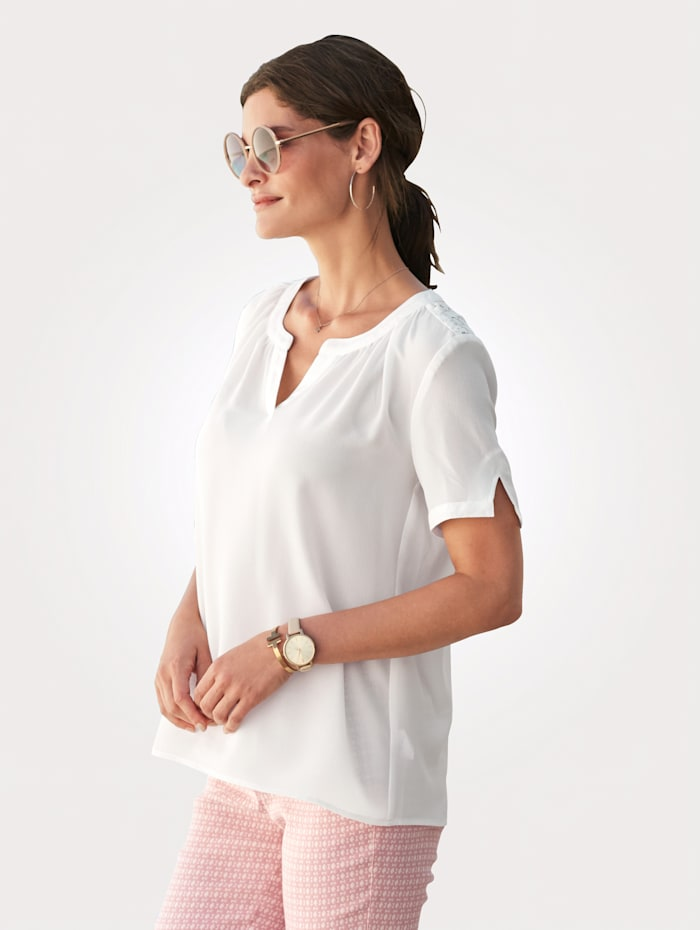 MONA Pull-on blouse with lace, Ecru