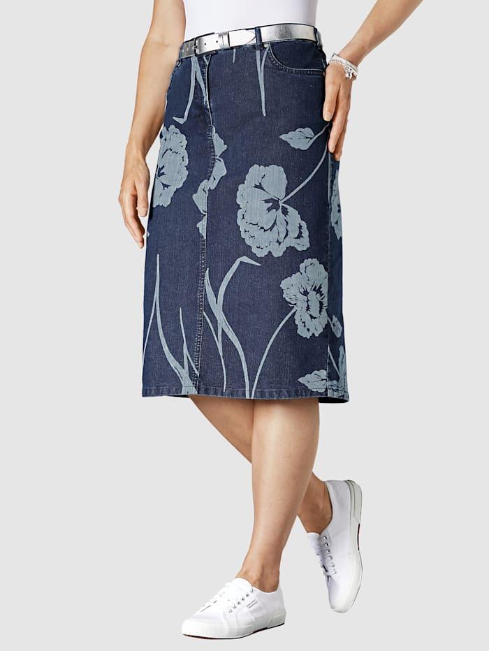 Jupe en jean à imprimé floral
