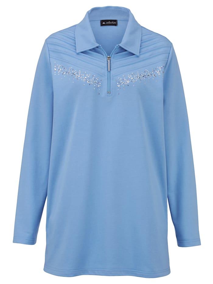 Sweatshirt mit Polokragen und kurzem Reißverschluss