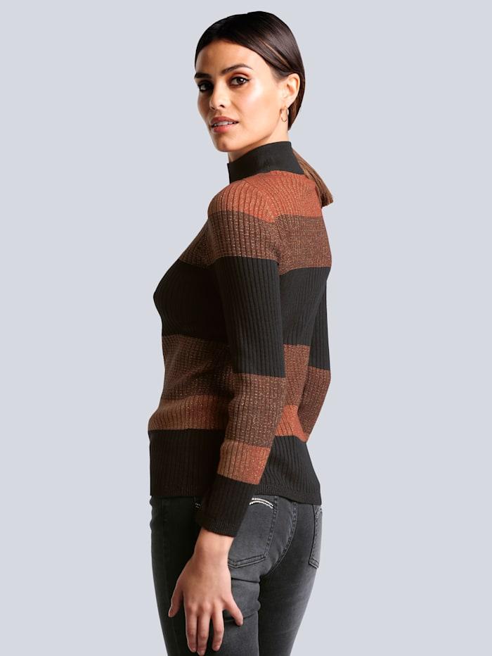 Pullover im kontrastfarbigen Blockstreifen-Dessin