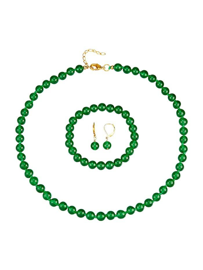 3tlg. Schmuck-Set aus Jade, Grün