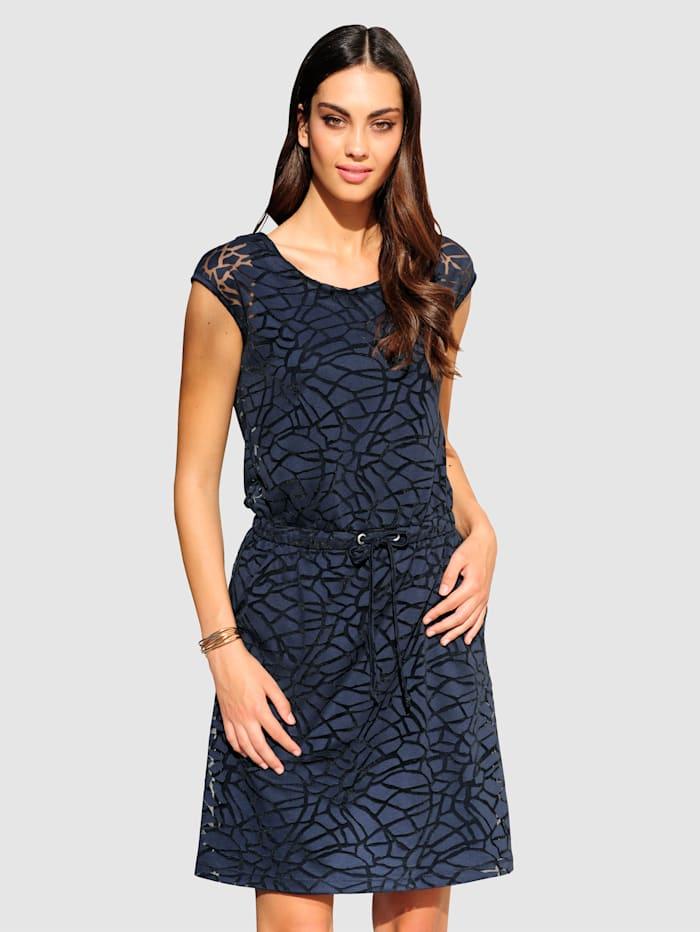 Alba Moda Kleid aus Oberstoff im angesagten Ausbrenner, Marineblau