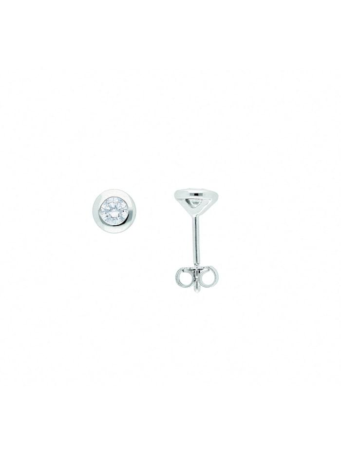 1001 Diamonds Damen Goldschmuck 585 Weißgold Ohrringe / Ohrstecker mit Zirkonia, silber