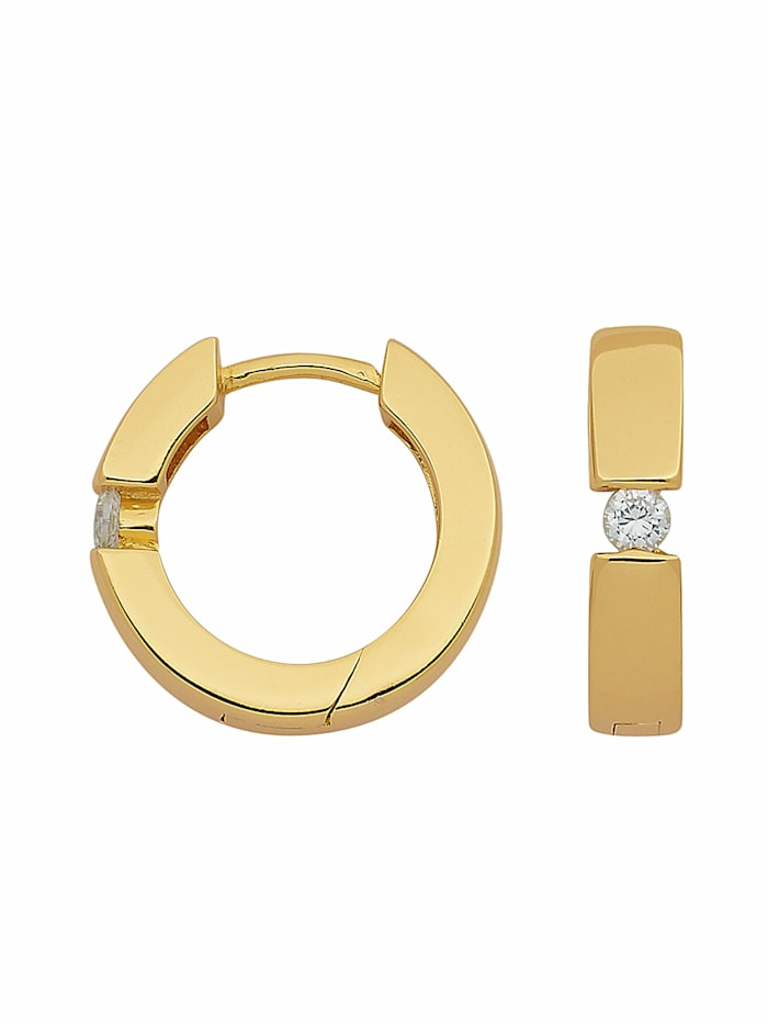 1001 Diamonds 1001 Diamonds Damen Silberschmuck 925 Silber Ohrringe / Creolen mit Zirkonia Ø 13,3 mm, vergoldet
