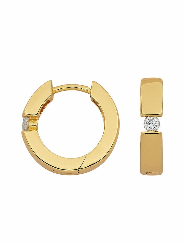 1001 Diamonds Damen Silberschmuck 925 Silber Ohrringe / Creolen mit Zirkonia Ø 13,3 mm, vergoldet