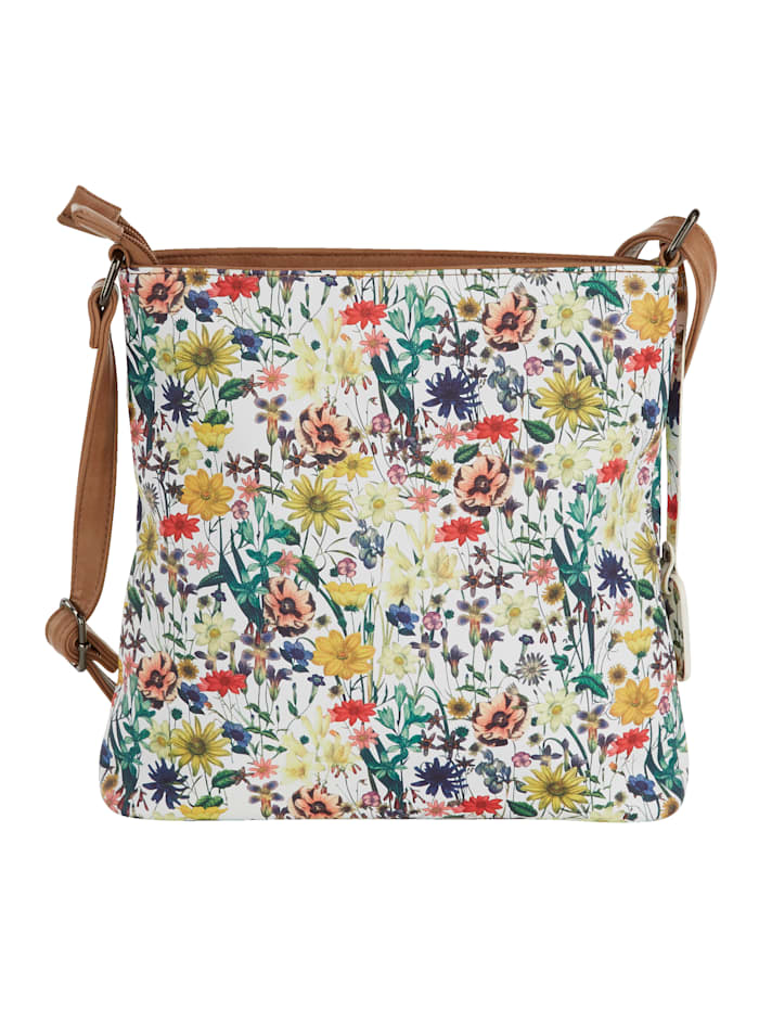 Shoulder bag with a floral print and shimmering finish