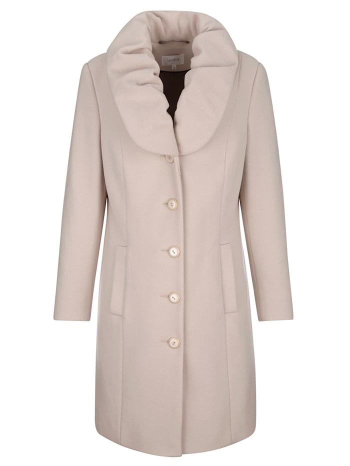 Manteau en laine mélangée à col châle froncé