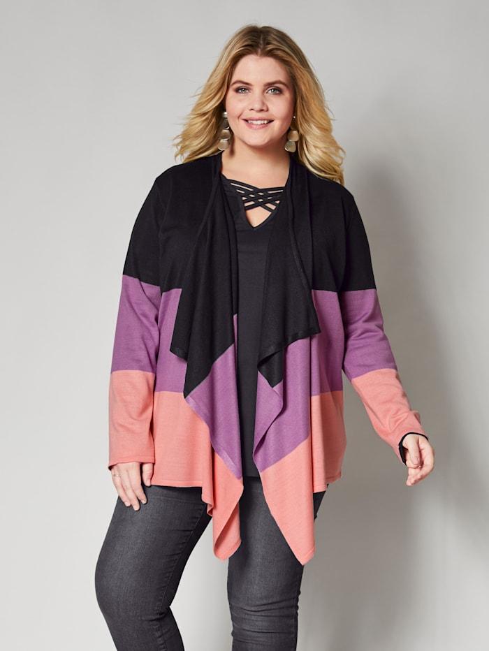 Angel of Style Strickjacke in Colorblocking, Schwarz/Rosé