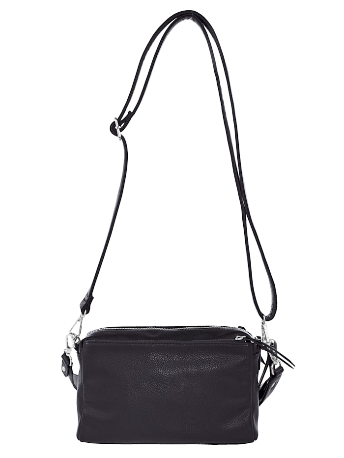 Shoulder bag with three zipped compartments