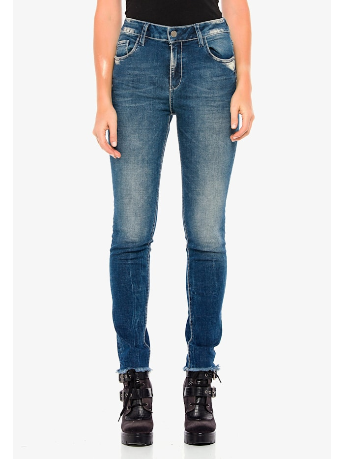 Cipo & Baxx Jeans mit coolen Used-Details in Slim Fit, Blau