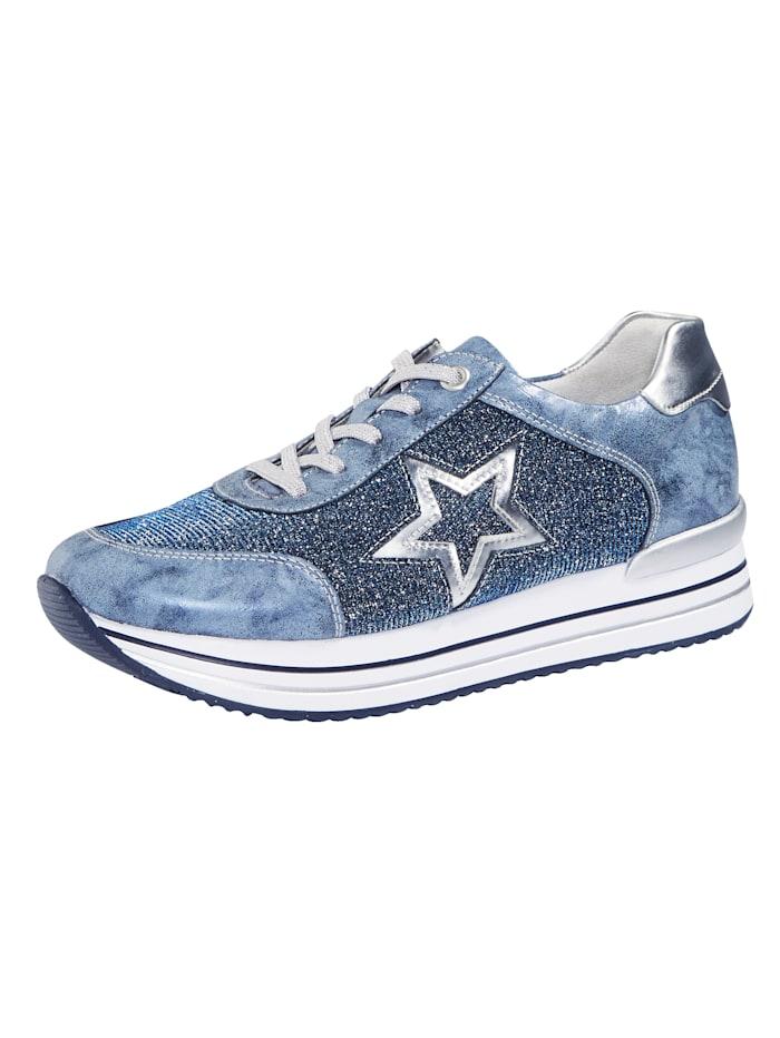 Remonte Sneakers à plateau à effet pailleté, Bleu