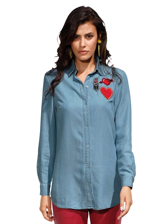 AMY VERMONT Bluse mit Patches, Hellblau