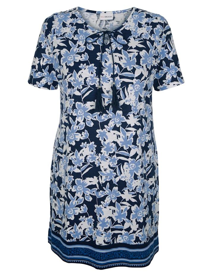 MIAMODA T-shirt long à encolure lacée, Bleu/Blanc