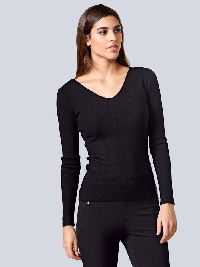 Alba Moda Pullover mit Spitze im Rücken-Ausschnitt, Schwarz