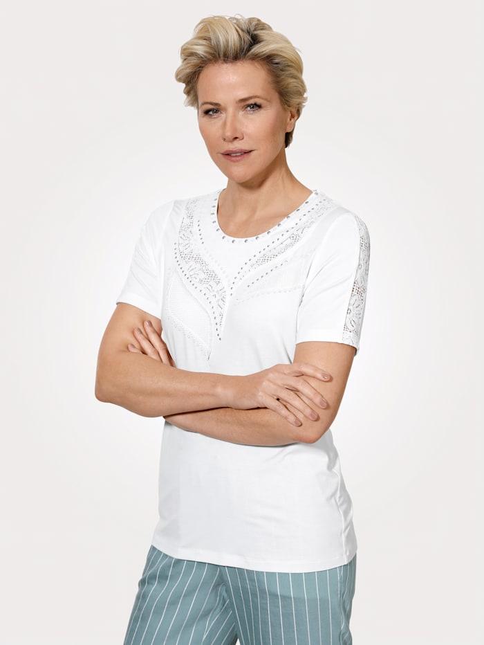 MONA Shirt mit floralen Spitzeneinsätzen, Weiß