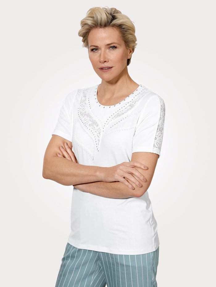 MONA T-shirt avec empiècements en dentelle florale, Blanc