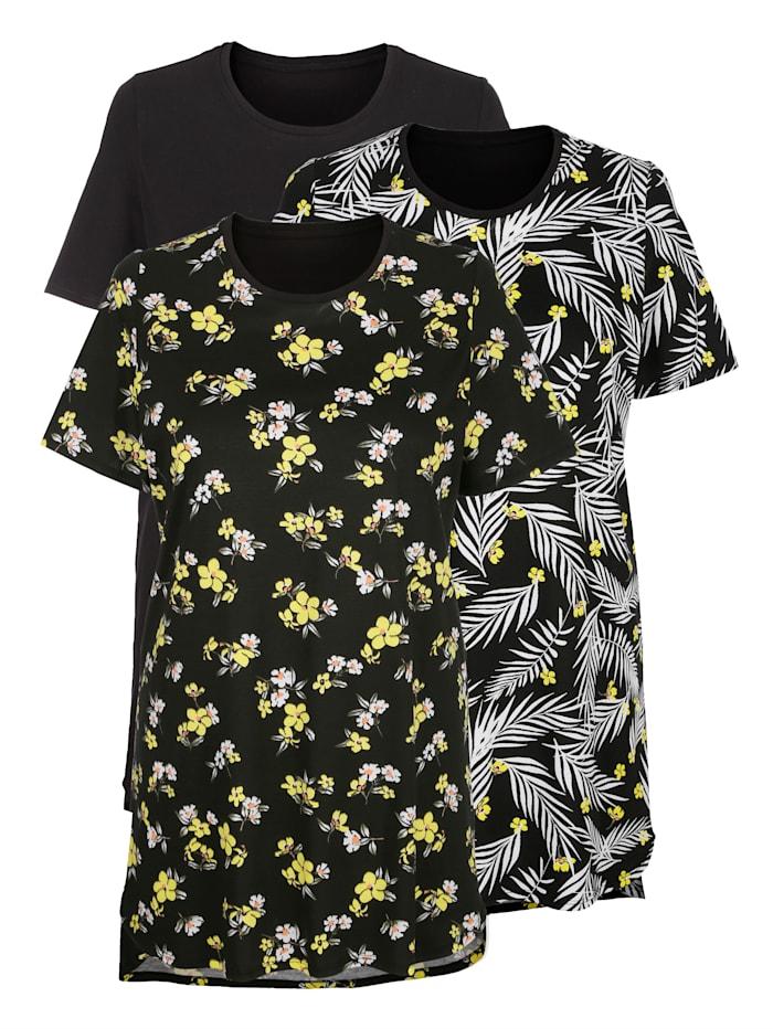 Blue Moon Nachthemden im 3er-Pack mit floralen Druckmotiven, Schwarz/Gelb/Weiß