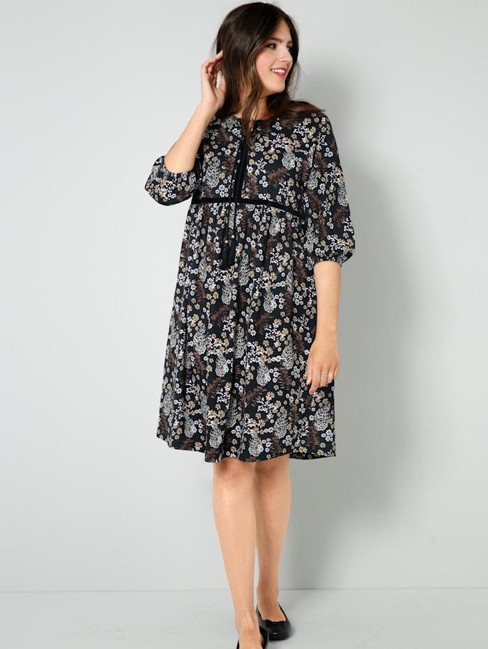 Janet & Joyce Jersey-Kleid mit floralem Dessin, Schwarz/Taupe