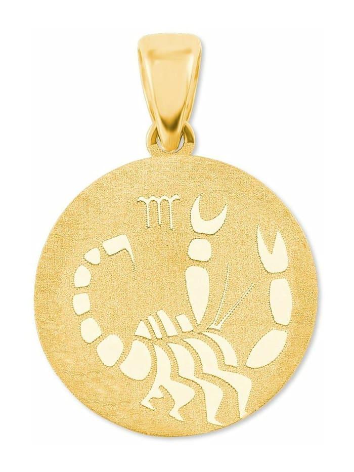 amor Anhänger Unisex Sternzeichen Skorpion rund 375 Gold teilmattiert, Gold