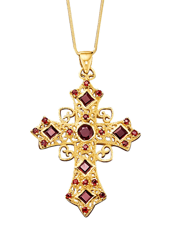 Kreuz-Anhänger mit Granat und Schlangenkette, Rot