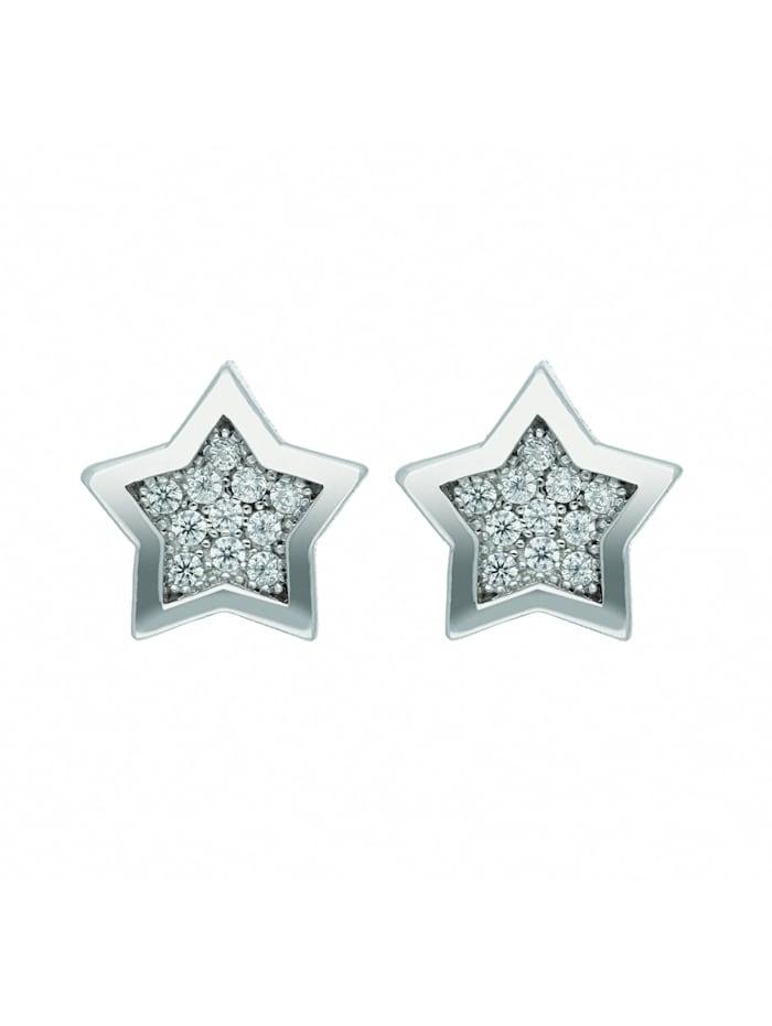 1001 Diamonds Damen Silberschmuck 925 Silber Ohrringe / Ohrstecker Stern mit Zirkonia, silber