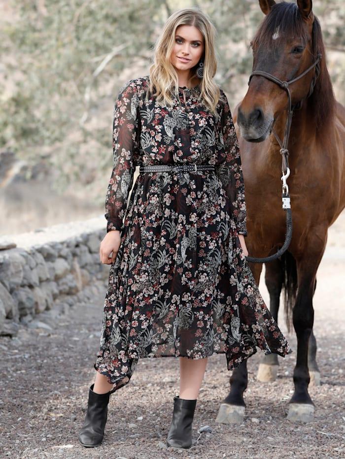 Sara Lindholm Kleid mit Blumendruck, Schwarz/Rosé
