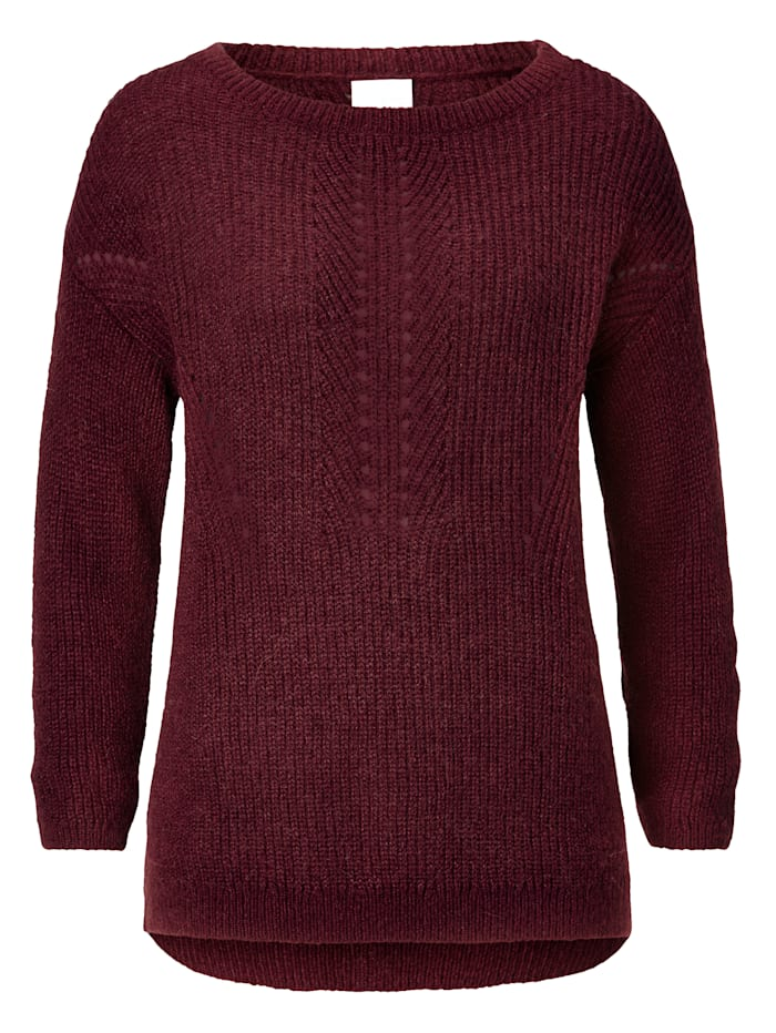 REKEN MAAR Pullover mit Ajour-Details, Bordeaux