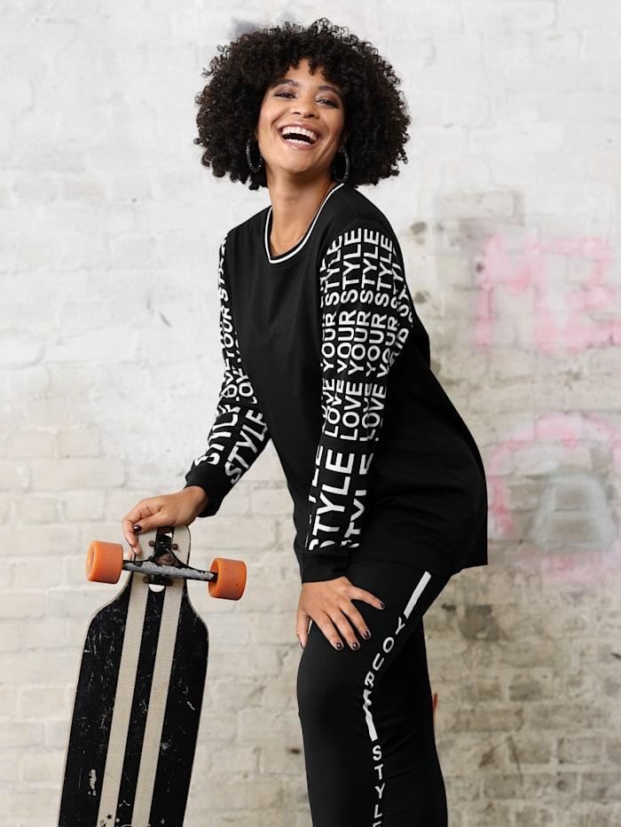 Angel of Style Sweatshirt mit bedruckten Ärmeln, Schwarz/Weiß