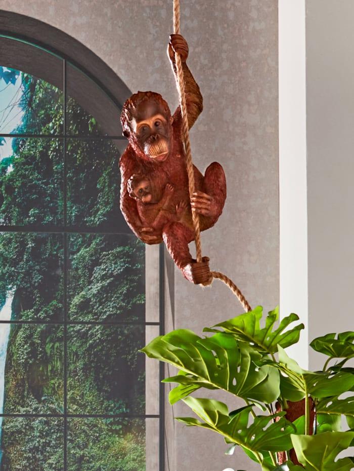 Orangutan mit jungen am Seil, Braun
