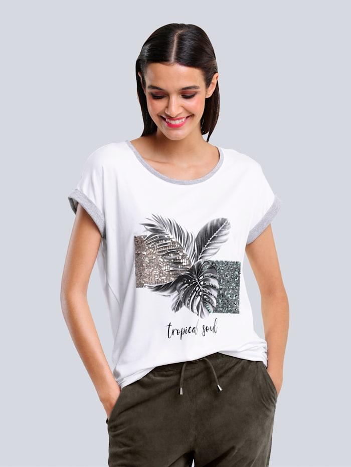Alba Moda Shirt mit aktuellem Blätterdruck-Motiv im Vorderteil, Ecru/Khaki
