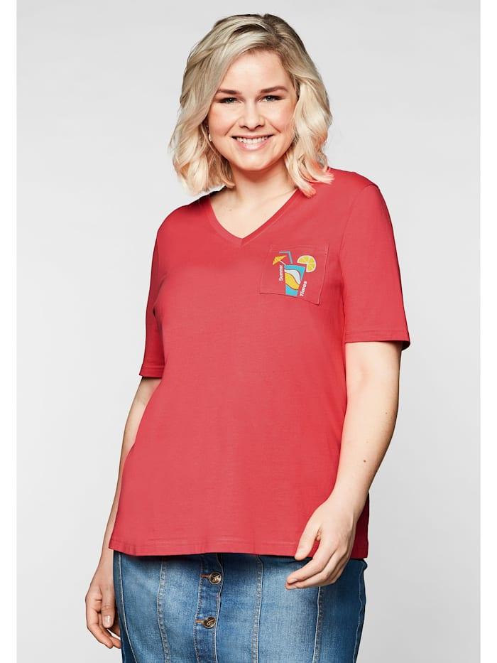 Sheego Sheego T-Shirt mit V-Ausschnitt und kleinem Druck, korallrot