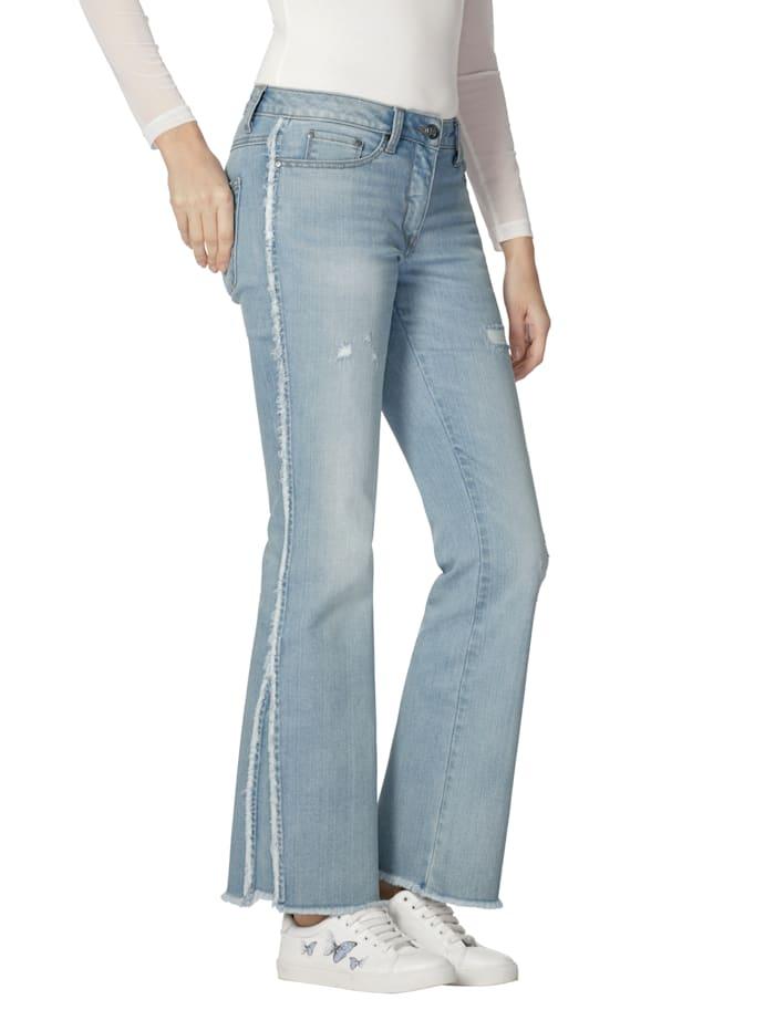 AMY VERMONT Jeans med frynser langs siden, Light blue