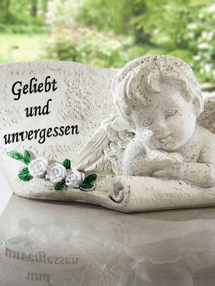 Hautaenkeli – saksankielinen kaiverrus, kivi
