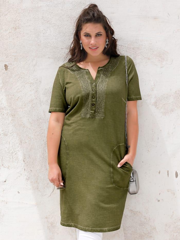 MIAMODA Šaty v Oil washed vzhľade, Zelená