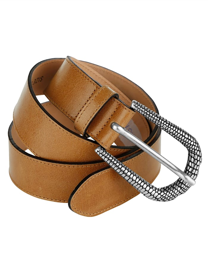 MONA Leather belt with embossed buckle, Cognac