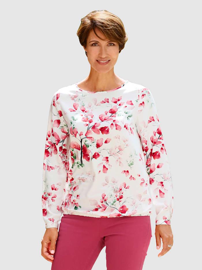 Paola Blouse à imprimé floral devant et dos, Rose