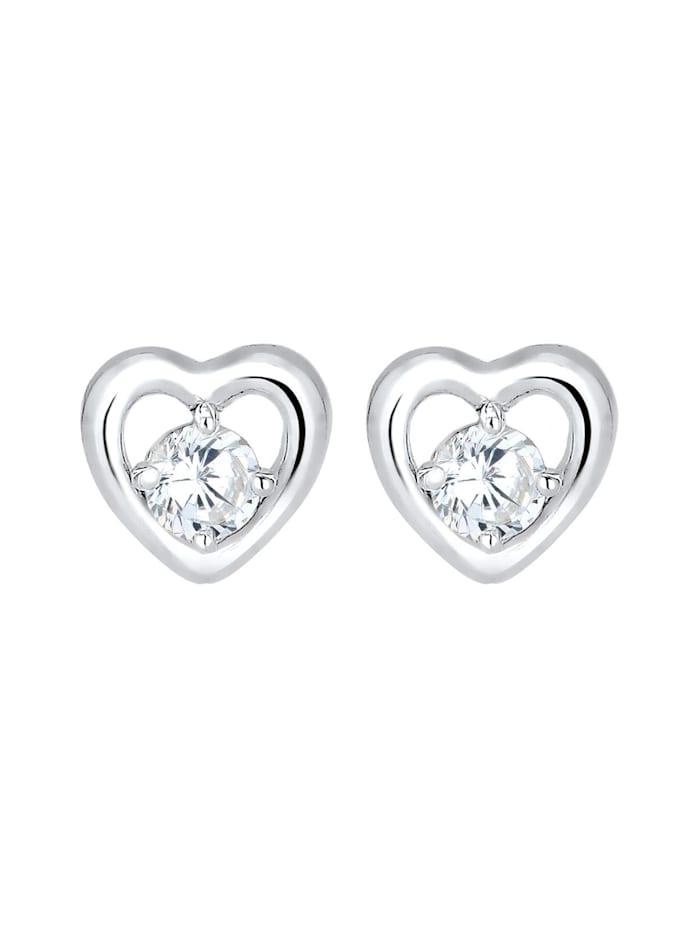 Ohrringe Doppelstecker Abnehmbar Herz Zirkonia 925 Silber