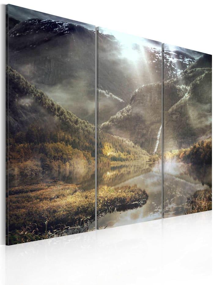 artgeist Wandbild The land of mists - triptych, Grau,Weiß,Gelb