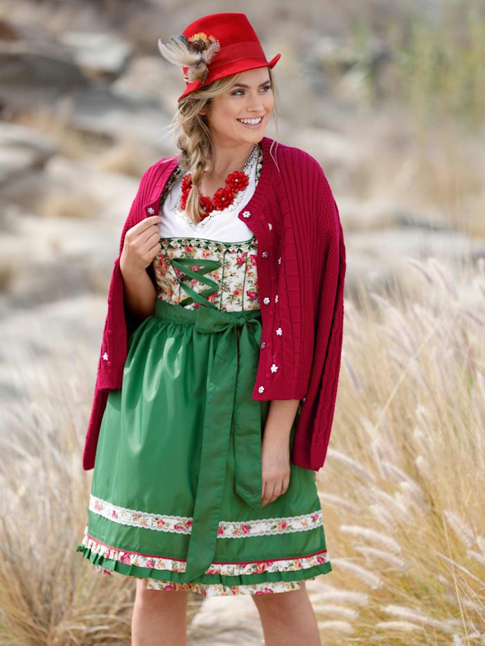 Sara Lindholm Strickjacke mit Blumenstickerei, Rot