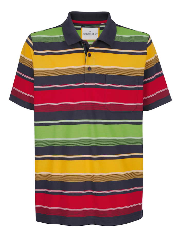 Roger Kent Poloskjorte med garnfarget stripemønster rundt hele, Koksgrå/Multicolor
