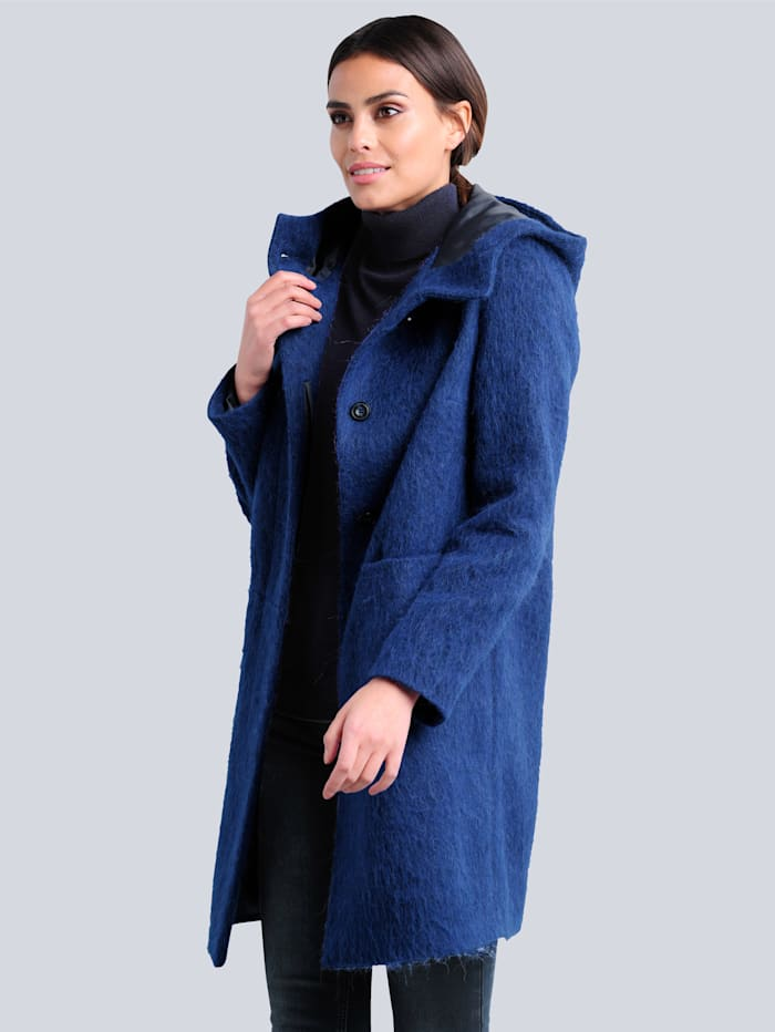 Alba Moda Jas in wollige look, Royal blue