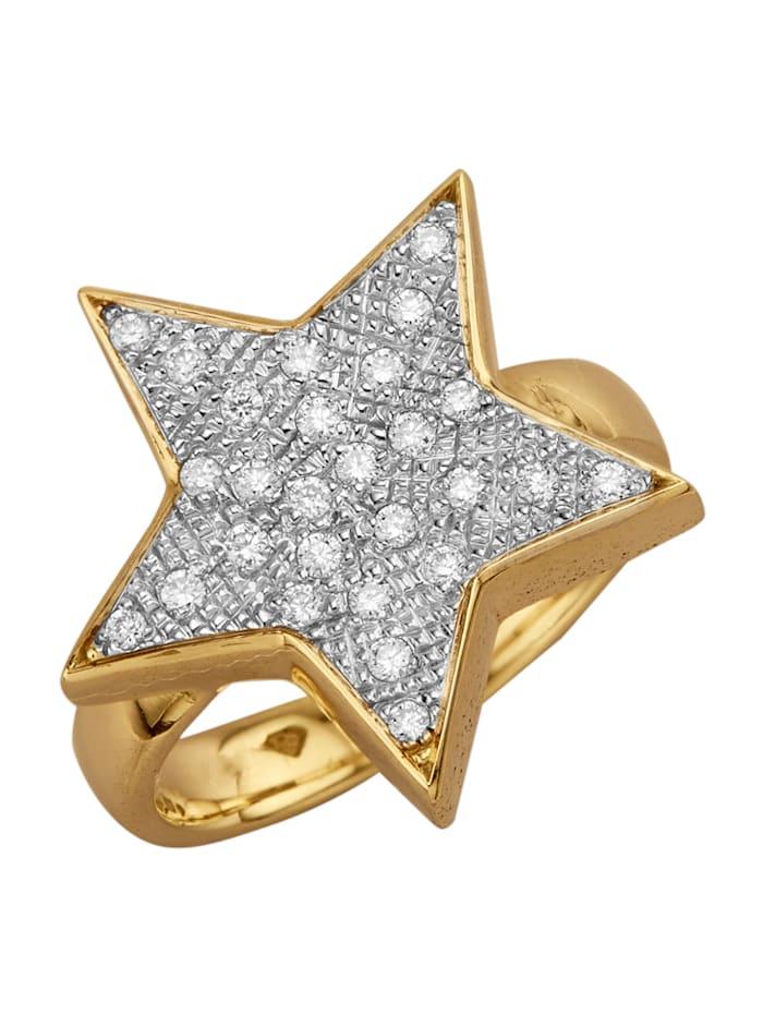 Diemer Diamant Stern-Ring mit Brillanten, Weiß